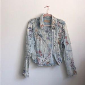 BLANKNYC/ embroidered denim moto jacket